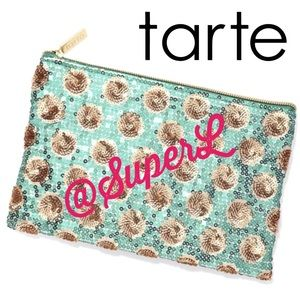 2/$15 Tarte turquoise blue gold sequin makeup bag